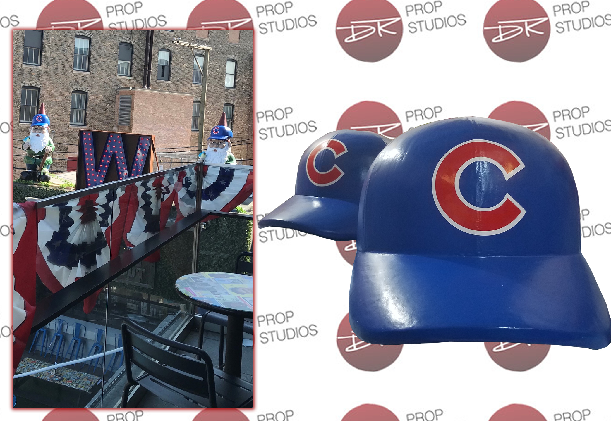 Large Scenic Baseball Caps on Gnome for Restaurant Display Prop