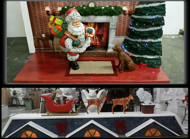 Custom Foam Christmas Window Displays Santa Reindeer Sleigh