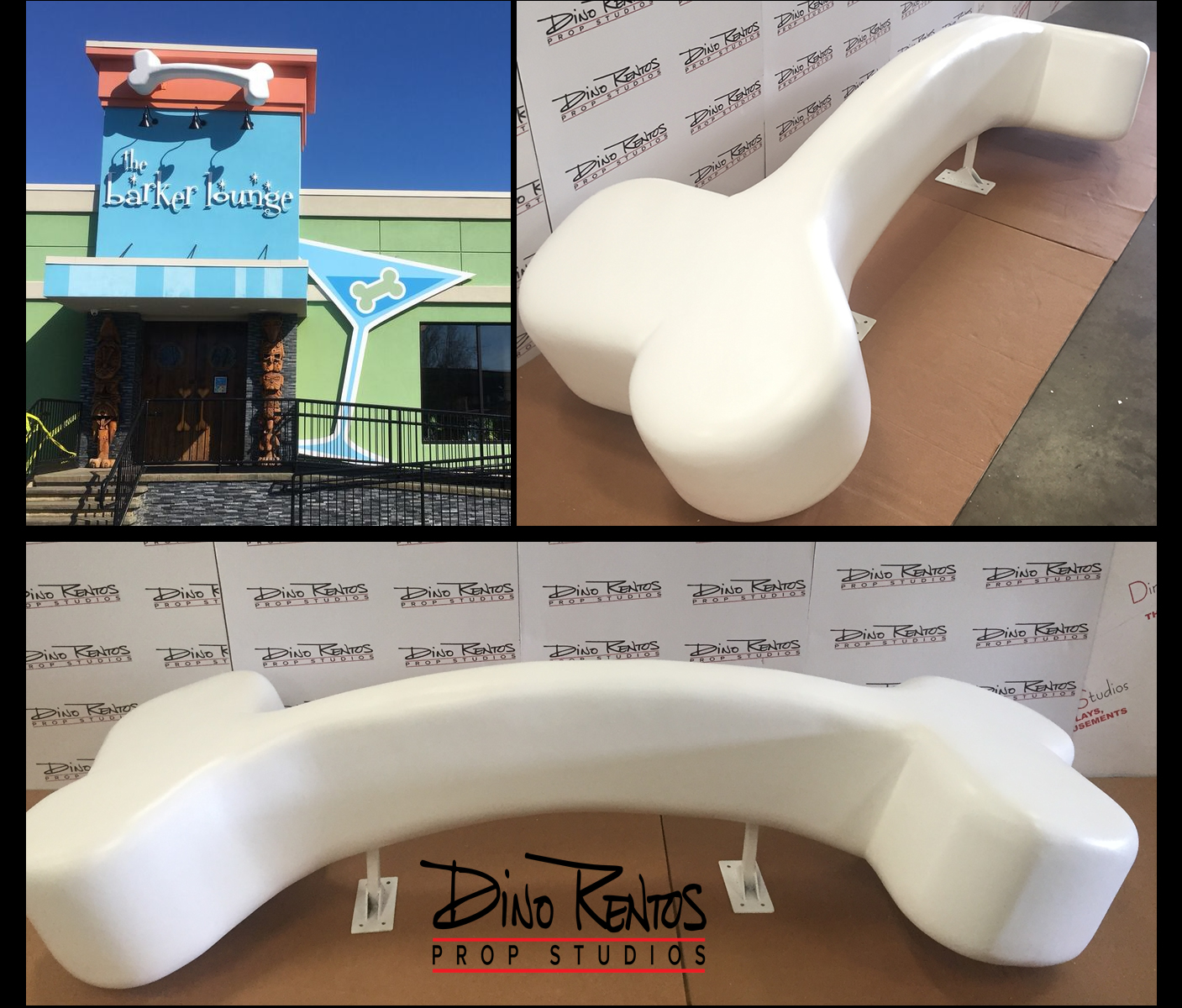 Large Foam Dog Bone for exterior sign Barker Lounge display prop retail signage