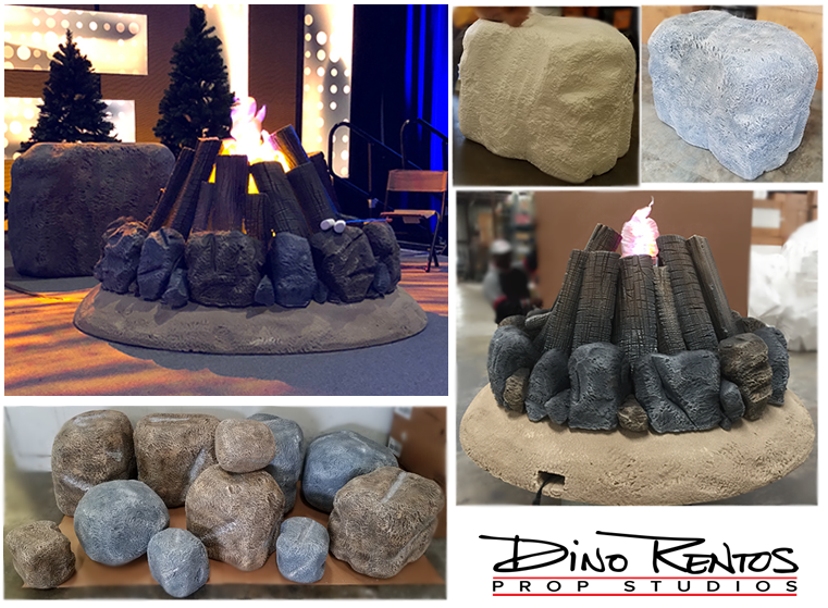 Fire Pit Campfire Story Telling Rock Custom Foam Prop for tradeshow convention Display