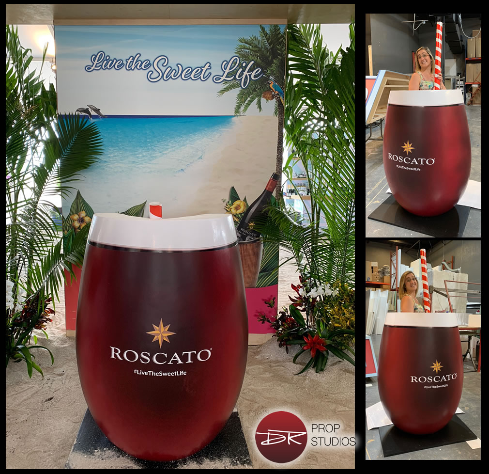 custom foam stemless wine glass for south beach food wine festival